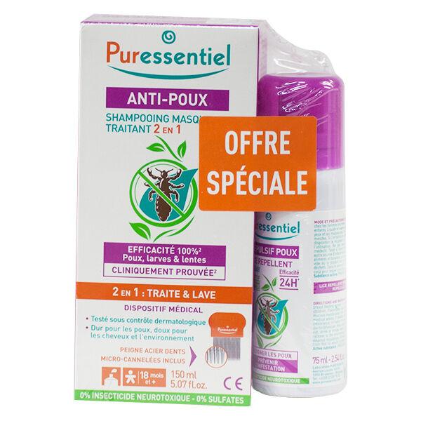 Puressentiel Anti-Poux Shampooing Traitant 2 en 1 150ml + Peigne + Spray Répulsif 75ml