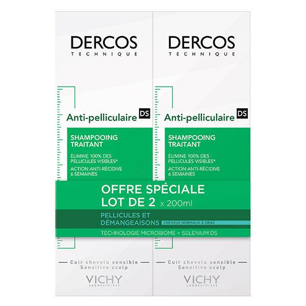 Vichy Dercos Shampooing Antipelliculaire Cheveux Normaux à Gras Lot de 2 x 200ml