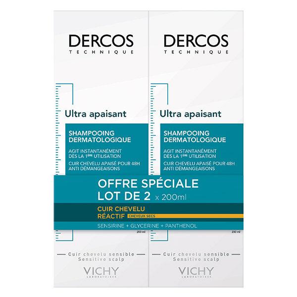 Vichy Dercos Shampooing Dermatologique Ultra Apaisant Cheveux Sec Lot de 2 x 200ml