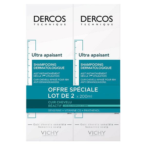 Vichy Dercos Shampooing Ultra Apaisant Cheveux Normaux à Gras Lot de 2 x 200ml