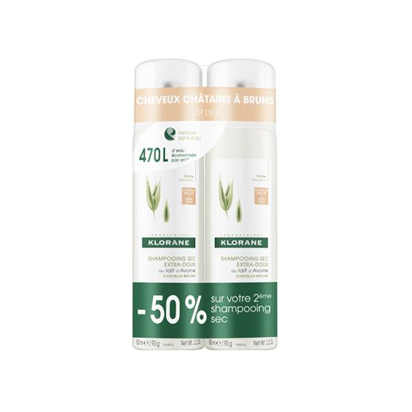 Klorane Shampooing Sec au Lait d'Avoine Cheveux Chatains Lot de 2 x 150ml