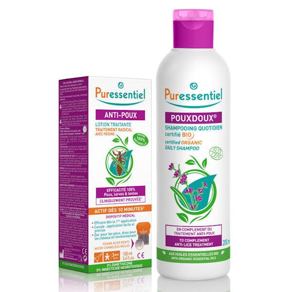 Puressentiel Anti-Poux Traitement Complet Lotion Traitante 100ml avec peigne + Shampooing PouxDoux 200ml