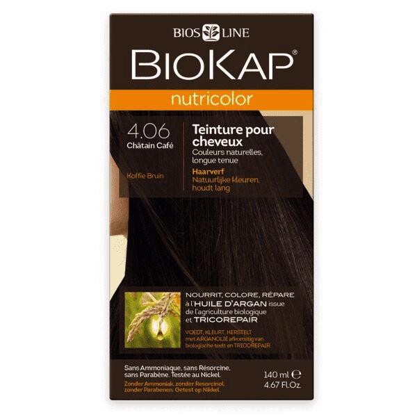 Biokap Nutricolor Teinture pour Cheveux 4.06 Châtain Café 140ml