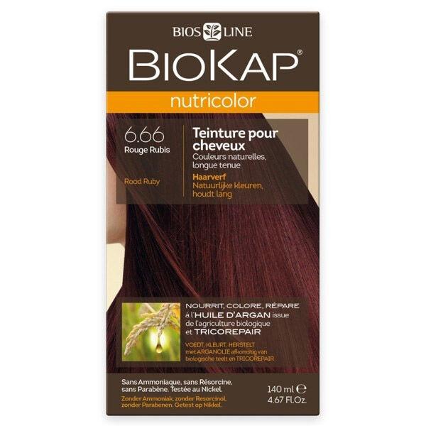 Biokap Nutricolor Teinture pour Cheveux 6.66 Rouge Rubis 140ml