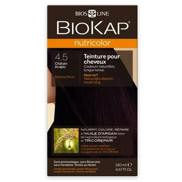 Biokap Nutricolor Teinture pour Cheveux 4.5 Châtain Acajou 140ml