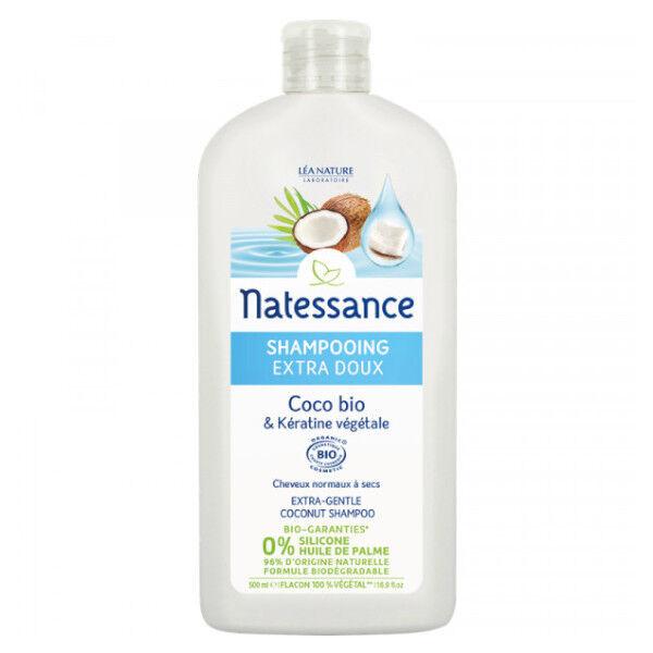 Natessance Shampooing Extra-Doux Coco Bio et Kératine Végétale 500ml