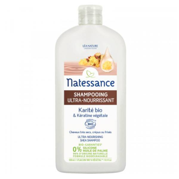 Natessance Shampooing Ultra Nourrissant Karité Bio et Kératine Végétale 500ml