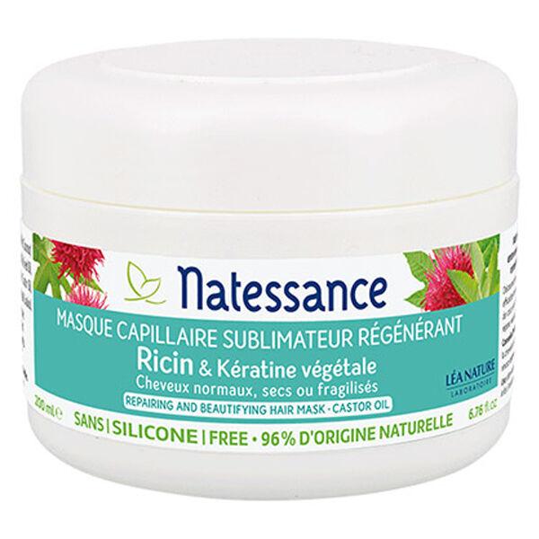 Natessance Masque Capillaire Sublimateur Régénérant Ricin et Kératine Bio 200ml