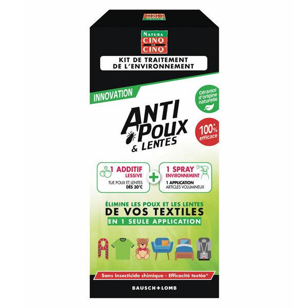 Cinq sur Cinq Kit Traitement Environnement Anti Poux et Lentes Spray 250ml + Additif Lessive 150ml