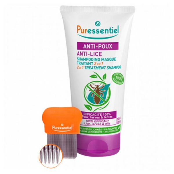 Puressentiel Anti-Poux Shampooing Masque Traitant 2 en 1 200ml + Peigne