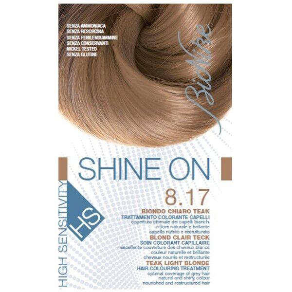 Bionike Shine On HS Coloration Cheveux Permanente Très Haute Tolérance Blond Clair Teck 8.17