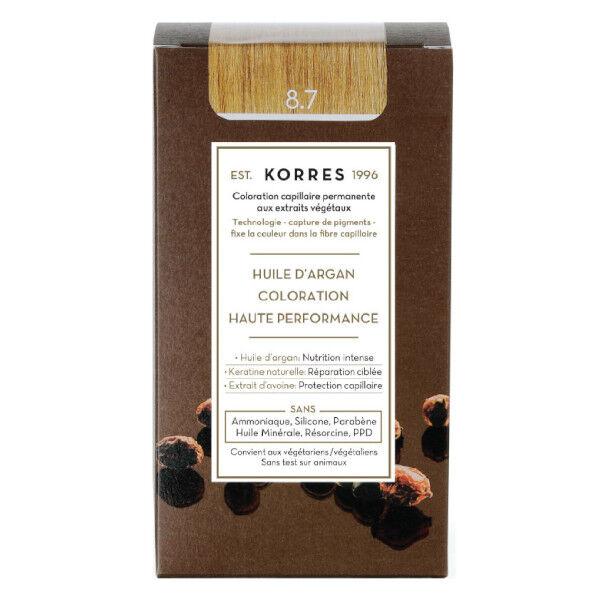 Korres Capillaire Coloration Permanente Blond Clair Marron 8.7
