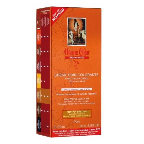 Henne Color Crème Soin Colorante Chatain Lumineux 100ml
