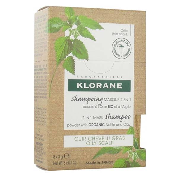 Klorane Ortie Shampooing Poudre Masque 2 en 1 à l'Argile 8 sachets