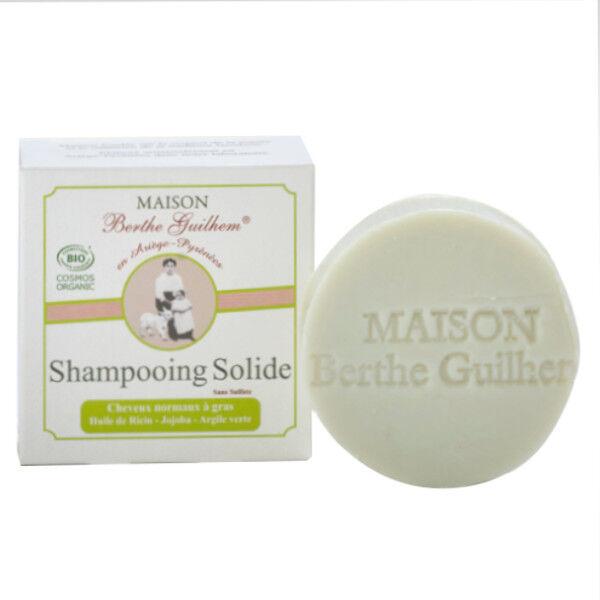 Maison Berthe Guilhem Shampooing Cheveux Normaux à Gras Huile de Ricin, Jojoba et Argile Verte Bio 100g