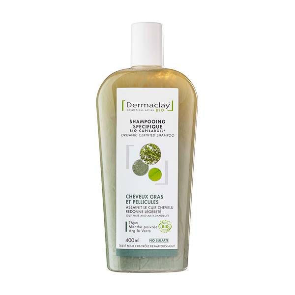 Dermaclay Shampooing Bio Capilargil Cheveux Gras et Pellicules 400ml