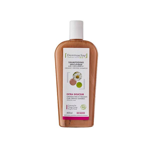 Dermaclay Shampooing Bio Cheveux Fragiles & Délicats - Argile Rose - 400ml