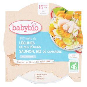 Babybio Repas Midi Assiette Méli Mélo Légumes Saumon Riz +15m Bio 260g - Publicité