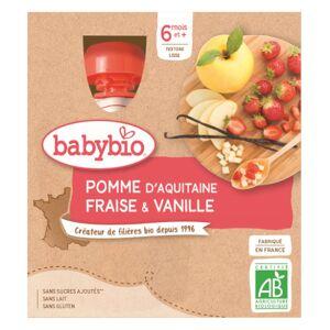 Babybio Fruits Gourde Pomme Fraise Vanille +6m Bio 4 x 90g - Publicité