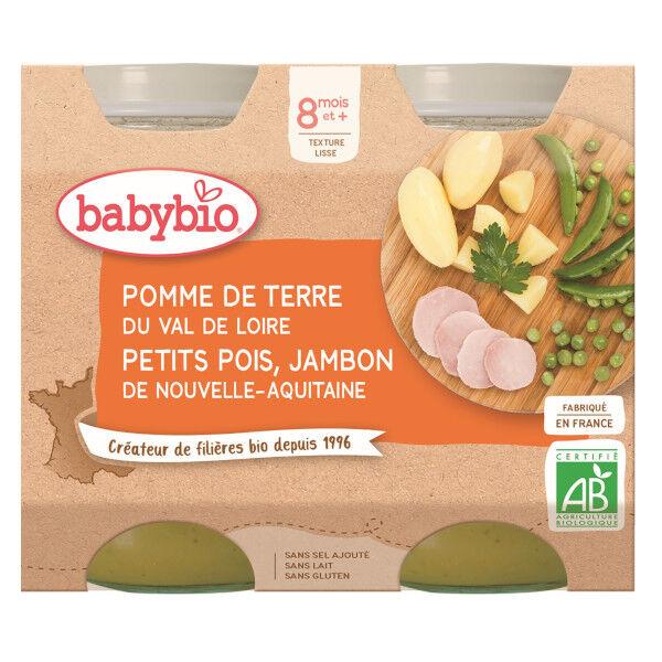 Babybio Repas Midi Pot Pomme de Terre Petits Pois Jambon +8m Bio 2 x 200g