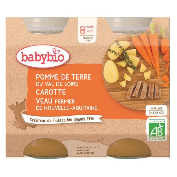 Babybio Repas Midi Pot Pomme de Terre Carotte Veau +8m Bio 2 x 200g