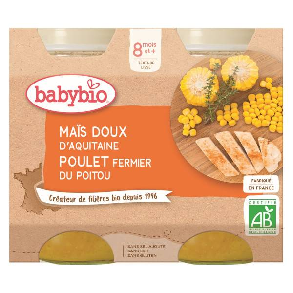 Babybio Repas Midi Pot Maïs Doux Poulet +8m Bio 2 x 200g