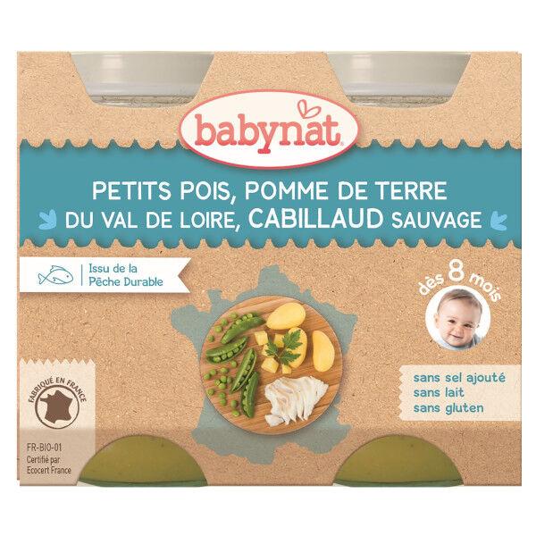 Babybio Menu du Jour Pots Petits Pois Pomme de Terre Cabillaud Sauvage dès 8 mois 2 x 200g