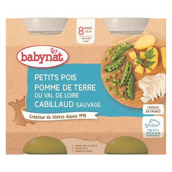 Babybio Repas Midi Pot Petits Pois Pomme de Terre Cabillaud Sauvage +8m Bio 2 x 200g