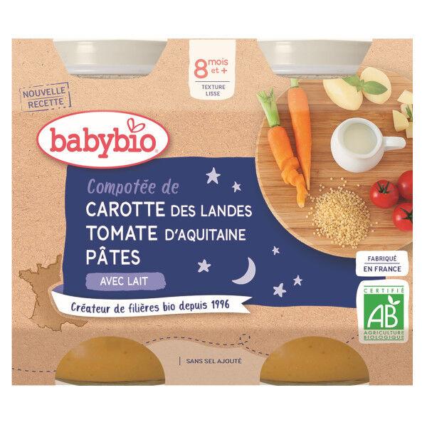 Babybio Bonne Nuit Pots Compotée Carotte Tomate Pâtes dès 8 mois 2 x 200g