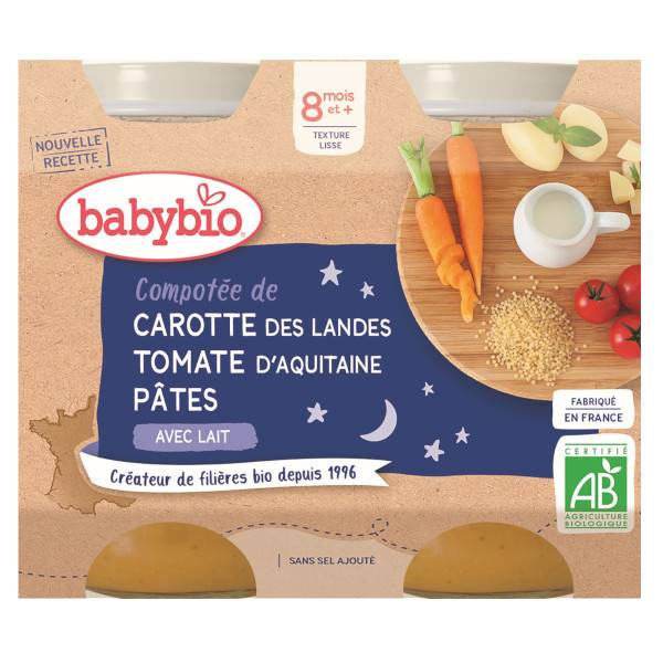 Babybio Repas Soir Pot Compotée Carotte Tomate Pâtes +8m Bio 2 x 200g