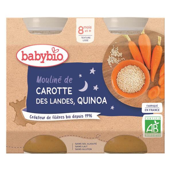 Babybio Repas Soir Pot Mouliné Carotte Quinoa +8m Bio 2 x 200g
