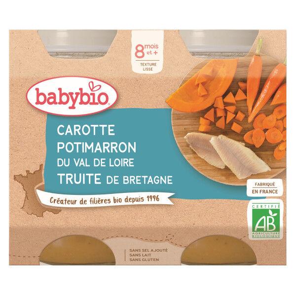 Babybio Repas Midi Pot Carotte Potimarron Truite +8m Bio 2 x 200g
