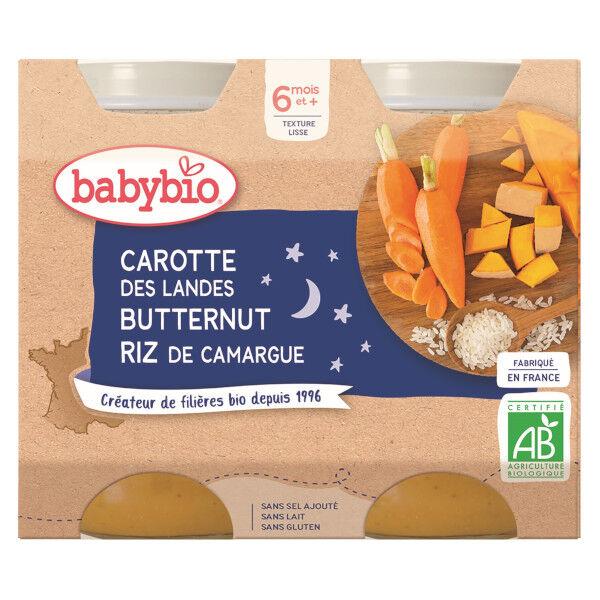 Babybio Bonne Nuit Pot Carotte Butternut Riz +6m Bio 2 x 200g