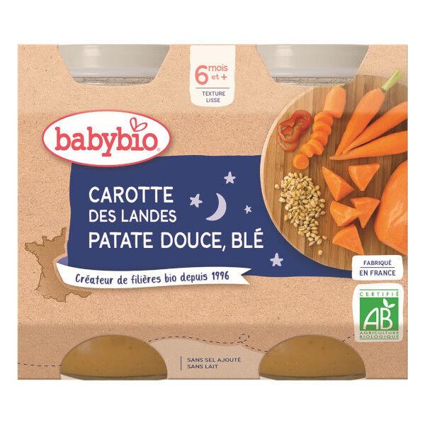 Babybio Repas Soir Pot Carotte Patate Douce Blé +6m Bio 2 x 200g
