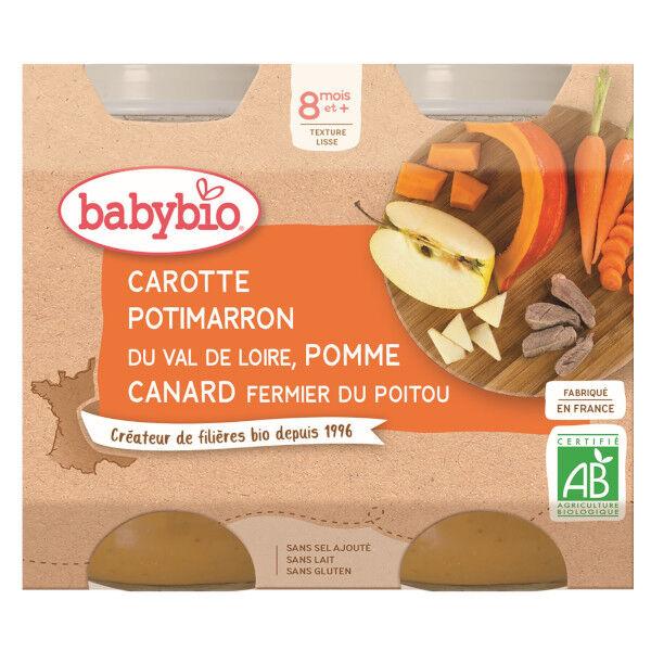 Babybio Menu du Jour Pots Carotte Potimarron Pomme Canard dès 8 mois 2 x 200g