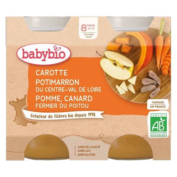 Babybio Repas Midi Pot Carotte Potimarron Pomme Canard +8m Bio 2 x 200g