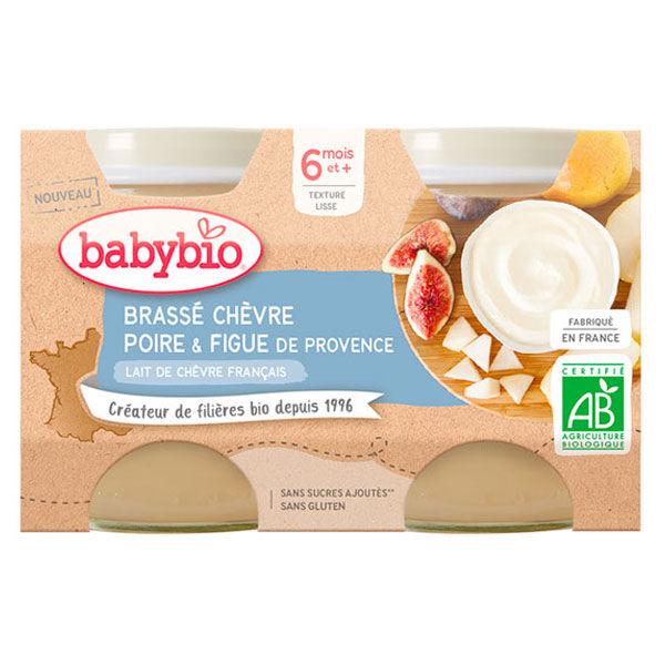 Babybio Desserts Lactés Pot Brassé au Lait de Chèvre Poire Figue +6m Bio Lot de 2 x 130g