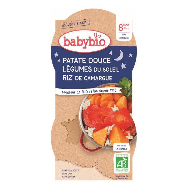 Babybio Bonne Nuit Bol Patates Douces Légumes du Soleil +8m Bio 2 x 200g