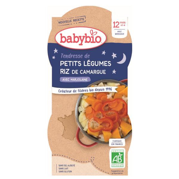 Babybio Bonne Nuit Bol Tendresse Petits Légumes Riz +12m Bio 2 x 200g