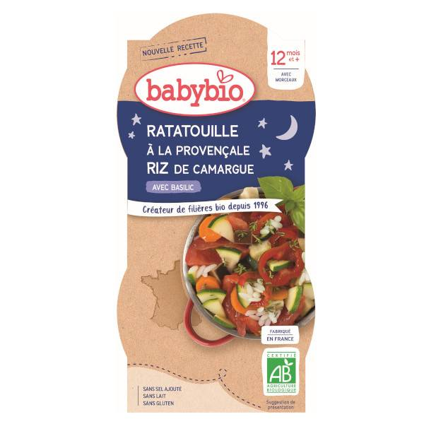 Babybio Bonne Nuit Bol Ratatouille Riz +12m Bio 2 x 200g