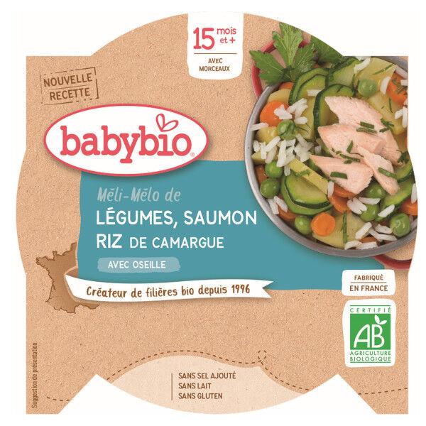 Babybio Menu du Jour Assiette Méli Mélo Légumes Saumon Riz dès 15 mois 260g