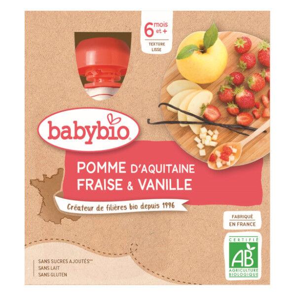 Babybio Fruits Gourde Pomme Fraise Vanille +6m Bio 4 x 90g