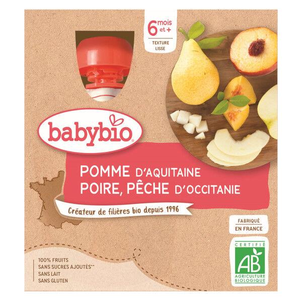 Babybio Mes Fruits Gourde Pomme Poire Pêche +6m Bio 4 x 90g
