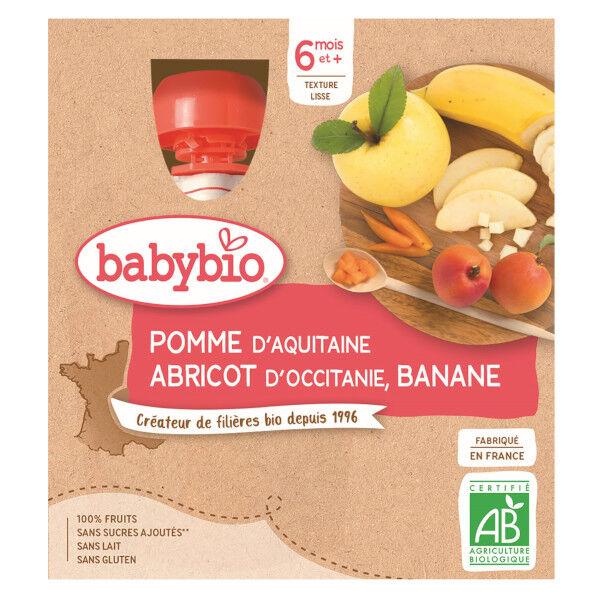 Babybio Mes Fruits Gourde Pomme Abricot Banane +6m Bio 4 x 90g