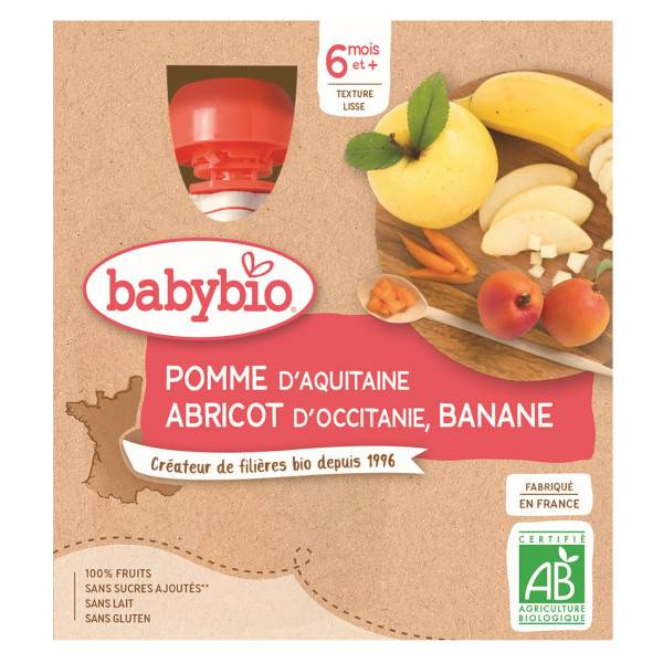 Babybio Mes Fruits Gourde Pomme Abricot Banane +6m Bio 4 x 90g