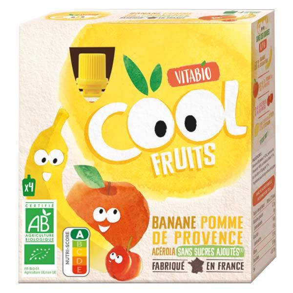 Vitabio Cool Fruits Pomme Banane Acérola Bio Lot de 4 x 90g