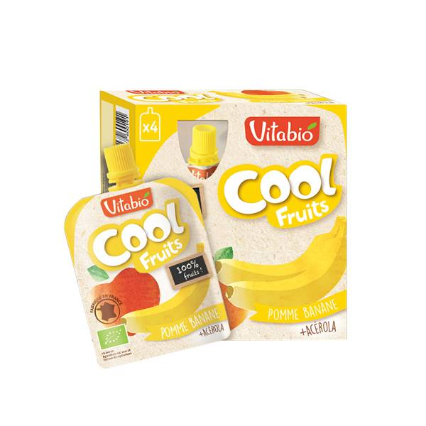 Vitabio Cool Fruits Pomme Banane + Acérola 4 x 90g