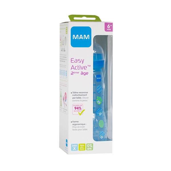 Mam Easy Active Biberon 2ème âge Décoré Oursons Bleus Débit X 330ml
