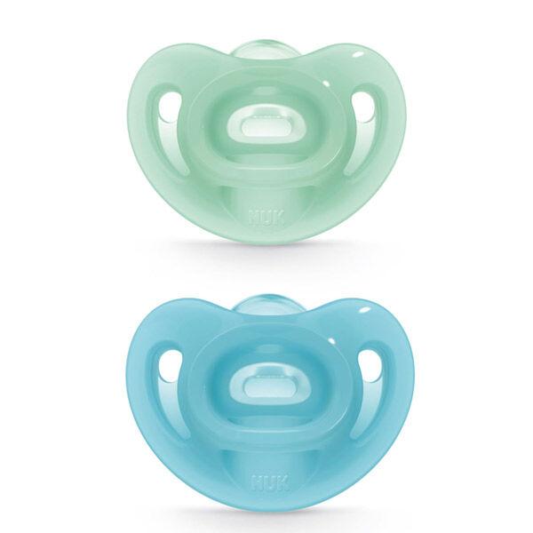 Nuk Sucette Sensitive 0-6m Bleu Vert Lot de 2