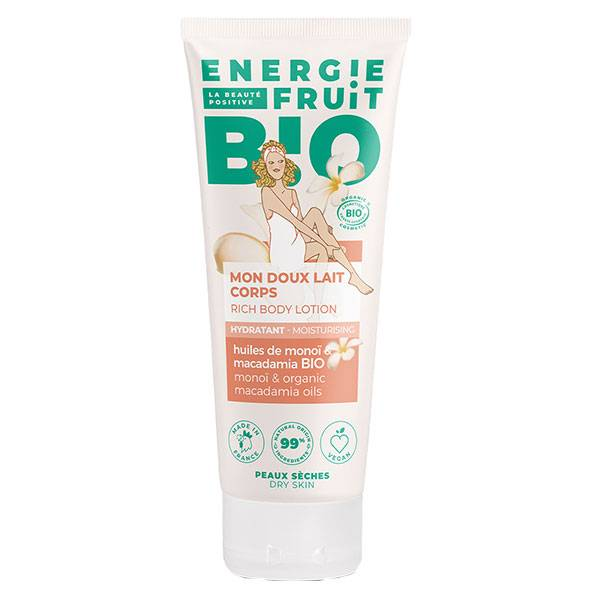 Energie Fruit Lait Hydratant Corps Huiles de Monoï & Macadamia Bio 200ml